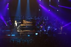 HAVASI Symphonic Concert Show 2017. At Palace Hall, Bucharest, Romania. Balazs Havasi is a piano virtuoso and one of the most fascinating and versatile young Stock Image