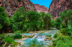 """Havasu Creek - Hualapai Tribal Lands - Arizona. Havasupai is roughly translated as """"The people of the blue-green waters,"""" which refers to the beautiful Royalty Free Stock Photography"""