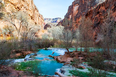 Havasu Creek in Supai,  Arizona. The beautiful blue-green waters of Havasu Creek run through the Havasupai Reservation  to form the beautful and famous Stock Photography