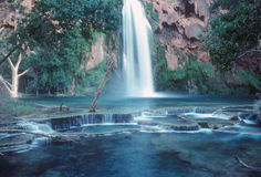 Havasu Fall in the Grand Canyon. Havasu Falls located on the Havasupai Indian Reservation deep within the Grand Canyon. This remote area can only be reach by royalty free stock photo