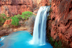 Havasu Falls. Picturesque Beautiful Grand Canyon Waterfall Royalty Free Stock Photo