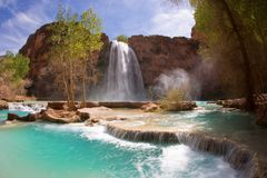 Havasu Falls. And its lime green water in Arizona Stock Images