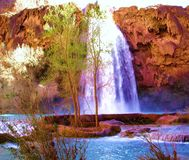 Havasu Falls Aqua Blue Pools stock photography