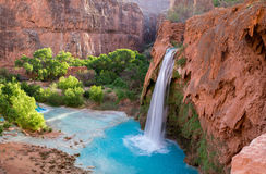 Havasu Falls, Arizona 2. The incredible scenery at Havasu Falls after a long hot hike through the desert of Arizona stock image