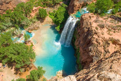 Havasu Falls in the Daytime. From the mesa above the falls. Wonderfull shadow from the sunlight in the spring Royalty Free Stock Photo