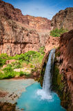 Havasu Falls - Grand Canyon West - Arizona. Havasu Falls is a waterfall of Havasu Creek, located in the Grand Canyon, Arizona, United States. It is within royalty free stock photography