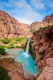 Havasu Falls II - Grand Canyon West - Arizona. Havasu Falls is a waterfall of Havasu Creek, located in the Grand Canyon, Arizona, United States. It is within stock image