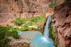 Havasu Falls III - Grand Canyon West - Arizona. Havasu Falls is a waterfall of Havasu Creek, located in the Grand Canyon, Arizona, United States. It is within royalty free stock photography