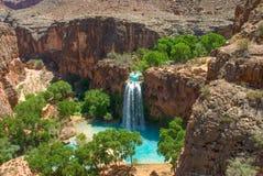 Havasu Falls Landscape Image. Havasu Falls Oasis in the middle of the Arizona Desert.  Landscape image taken from above the falls Royalty Free Stock Image