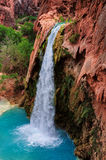 Havasu Falls, natural paradise in the Grand Canyon. Amazing Havasu falls in Arizona, Havasupai Indian Reservation, Grand Canyon royalty free stock photo