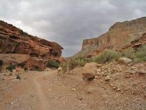Havasu Falls Trail. The rocky trail to the village of Supai above Havasu Falls in Arizona royalty free stock image