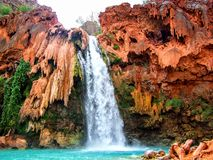 Havasupai Falls, pools, blue water, geological formation rock walls Stock Image