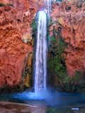 Havasupai Falls, pools, blue water, geological formation rock walls Royalty Free Stock Photography