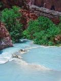 Havasupai spadki, baseny, błękitne wody, geological formaci skały ściany Zdjęcie Stock