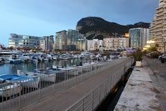 Havbymarina i Gibraltar Arkivfoton