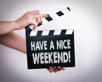 Free Have A Nice Weekend. Female Hands Holding Movie Clapper Royalty Free Stock Photography - 82756427