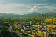 Have a bird`s eye view of altay. In China,full of high-rise buildings Stock Photos