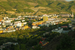 Have a bird`s eye view of altay. In China,full of high-rise buildings Royalty Free Stock Photo