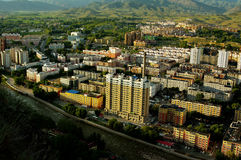 Have a bird`s eye view of altay. In China,full of high-rise buildings Stock Photo