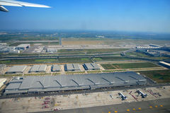 Have a bird's eye view of Bangkok airport. Busy and orderly Stock Photos