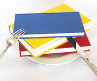 Have a book for breakfast. Three colorful books served on a plate instead of an usual dish stock illustration