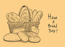Have A Bread Day. A hand drawn vector illustration of a basket full of bread with Have A Bread Day written next to it Stock Photography