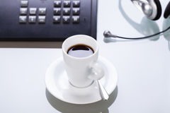 Have a break in office coffe on desk business lifestyle Royalty Free Stock Images
