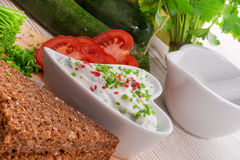 Have breakfast curd with chives Royalty Free Stock Image