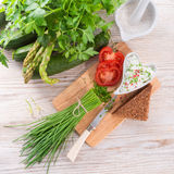 Have breakfast curd with chives Royalty Free Stock Photography
