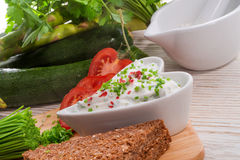 Have breakfast curd with chives Stock Photo