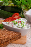 Have breakfast curd with chives Royalty Free Stock Photos