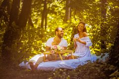 Have breakfast in nature with your love. Couple relationship. Spring season royalty free stock image