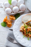 Have breakfast omelette with chanterelles Royalty Free Stock Photography