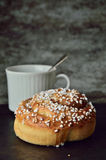 Have a coffee and cinnamon bun moment Royalty Free Stock Image