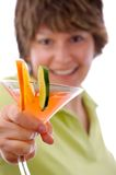 Have a Drink. Woman offering a drink with shallow depth of field Stock Photography