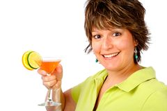 Have a Drink. Woman having a drink and enjoying herself Royalty Free Stock Image