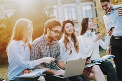 Have Fun. Good Mood. Laptop. Textbooks. Knowledge stock photography