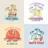 Best Summer Time Parties Set of Illustrations Royalty Free Stock Image
