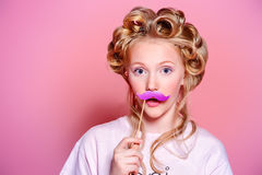 Have fun with mustache Royalty Free Stock Photography