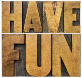 Have fun word abstract banner in wood type Stock Image