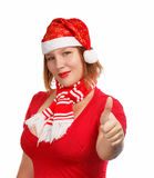 Have a good holidays. Young woman in new year or christmas suit smiling isolated on white background with thumbs up Stock Images
