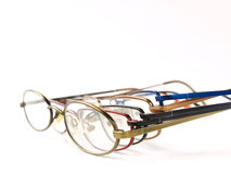 Have a good look!. Five different colored glasses or spectacles Royalty Free Stock Photo
