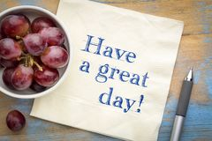 Have a great day - text on napki Stock Photo