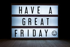 Have a great friday. `Have a great friday` text in lightbox stock image
