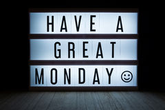Have a great monday. `Have a great monday` text in lightbox stock images