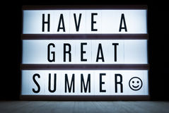Have a great summer. `Have a great summer`  text in lightbox Royalty Free Stock Photography
