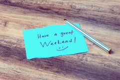 Have a great weekend. On paper retro style Stock Photos