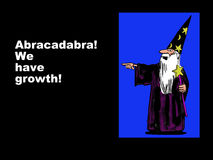 We have growth!. Business illustration showing a wizard and the words, 'Abracadabra!  We have growth Stock Photo