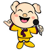 Have happy singing pig mascot. Animal Character Design Series. Stock Image