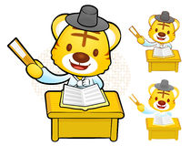 Have happy singing Tiger mascot. Korea Traditional Cultural char Royalty Free Stock Image